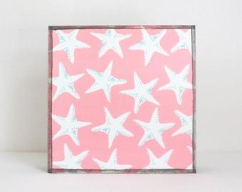 nautical nursery art,  beach nursery decor, starfish art for nursery- 5x5 art block- geometric nursery- kid room decor- art- redtilestudio