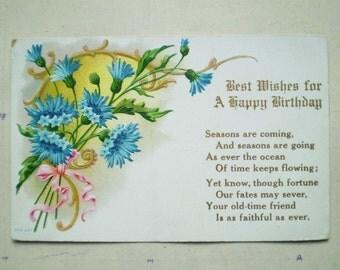 Happy Birthday - 1908 - Marburg, Ontario - Antique Canadian Postcard - Blue Flowers & Pink Ribbons
