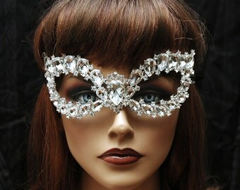 Crystal Costume Party Mask, Bridal Mask, Wedding Mask, Masquerade Mask, Venetian Mask, Wedding Accessories, Costume Accessories