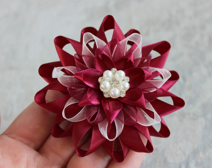Coat Pin, Gift for Women, Wine Flower Pin, Maroon Flower Pin, Maroon Corsage Pin, Maroon Dress Pin, Sweater Pin, Ivory, Pearl Flower Pins
