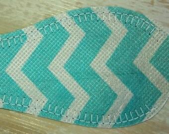 NEW - Non-Felt Cloth Eye Patch - Turquoise & White Zig Zag