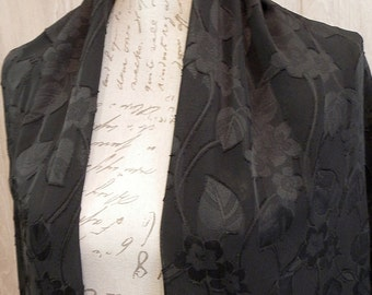 Black floral  chiffon Shawl with Tassels