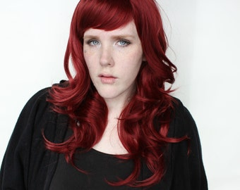 SALE Long Red wig | Wavy Auburn wig | Realistic wig for daily wear, Cosplay and more | Crimson Crystal