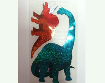 Rare Hambly Stickers - Dinosaurs - Vintage Collection Retired Hard to Find Glitter Dinosaurs Brontosaurus Apatosaurus Triceratops Collector