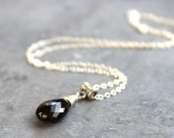 Black Spinel Necklace Stone Teardrop Sterling Silver Pendant Drop Faceted