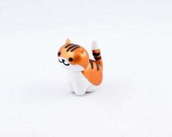 Cute Kitty Cat Miniature Sculpture made from Polymer Clay, Handmade