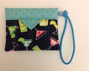 "Happy Hour Quilted Fabric Mini Snap Bag Purse Handbag  Pouch Handmade 5"" X 4"""