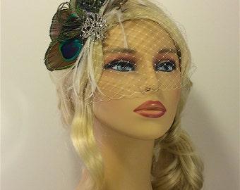 Peacock Fascinator, Wedding Headpiece, Bridal Headpiece, Feather Hair Piece, Wedding fascinator, Birdcage Veil, Blusher Veil, Bandeau Veil