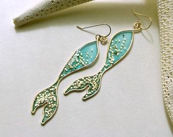 Gold Mermaid Earrings, Mermaid Dangle Earrings, Glitter Mermaid Tail, Mermaid Tail Earrings, Glitter Resin Earrings, Turquoise Mermaid