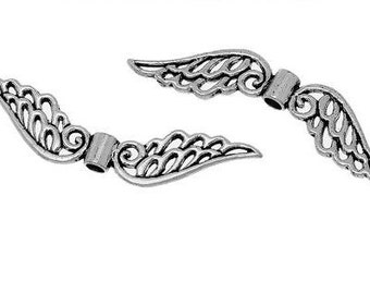 angel wing bead extra long 53mm x 20pc