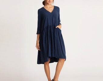 Long sleeve dress, knee length dress, Winter oversized dress, day to night dress, casual elegant dress, blue winter Dress,