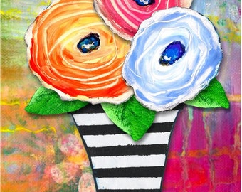 "Original Design Print ""Beautiful"" Bright, Bold, Inspiring Flowers by Australian Artist PhillipaheART"