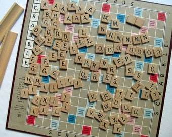 Vintage Scrabble Tiles Letters Wood Alphabet Board Game All of Same Game Grain Lines Soft Smooth Wooden Block Game Pieces Craft Supplies Art