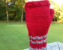 Red with Gray Fingerless Gloves, Large to X Large, Winter, Gamers, Surveyors Gloves, Hikers, Texters, Winter Mitts