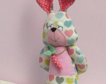 Cauliflower fabric soft toy rabbit sewing pattern