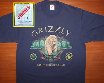 Grizzly Discovery Center vintage t-shirt L navy blue 90s West Yellowstone Montana