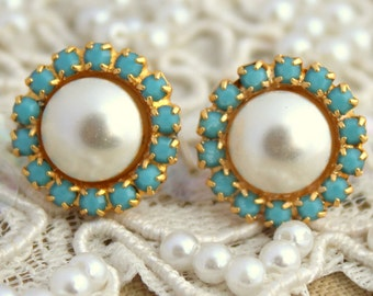 Pearl Earrings,Pearl Stud Earrings,Turquoise Gold Earrings,Swarovski Earrings, Turquoise Studs,Gift for her,Bridesmaids Earrings