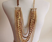 Gold Chain Boho Necklace, Big Bold Chunky Necklace, Layered Gold Chain Necklace, Gold Layered Necklace, Multistrand Gold Necklace