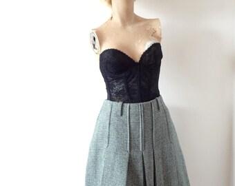 1960s Mini Skirt - vintage pleated houndstooth a-line
