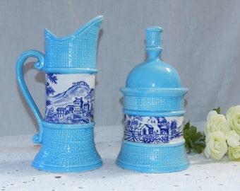 Vintage Toile Ceramic Delft Blue and White~On Light Blue~Basket Weave~Cream and Sugar Dish Set