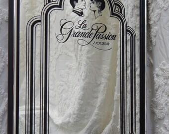 RARE Vintage~French Art Deco Liqueur Mirror~La Grande Passion Liqueur~ Man Cave,Pub,Bar,Liqueur,liquor,Billiard Room,Advertising