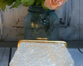 Vintage White Beaded Sequins Coin Purse~Wedding Change Purse~Clutch~Formal~Handmade