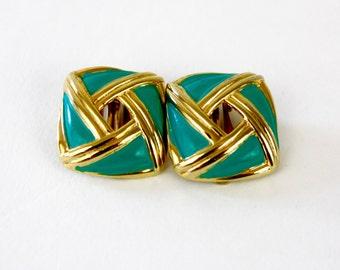 Vintage 80s Classic Earrings Turquoise Enamel & Goldtone Metal Square Earrings w Clip on Backs