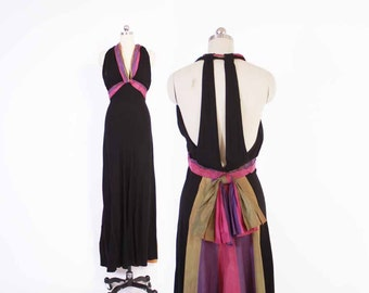 Vintage 30s Evening GOWN / 1930s Backless Party DRESS Striped Bow & Swag XS