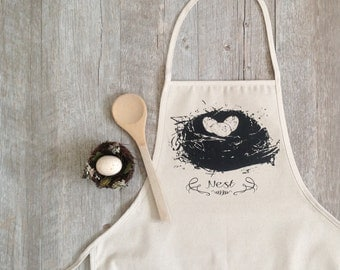 Apron - Nest Apron Baking Cooking Baker Chef Cotton Canvas Full Apron Cooking Holiday Baking Food Kitchen Farmhouse Kitchen Our Nest