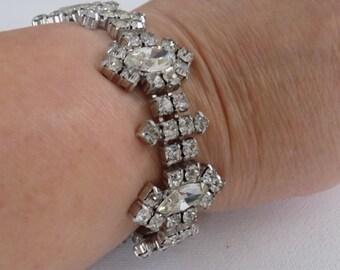 Vintage bracelet, crystal bracelet, elegant bracelet, bridal wedding, 7 inch bracelet, retro jewelry