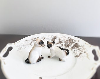 Siamese Cat Duo Vintage Porcelain Figurines Mid Century Ceramics Collectible Felines Gift Idea For Animal Lover Or Child Future Veterinarian