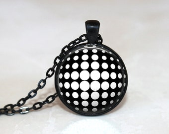 GlassTile Necklace Retro Necklace Glass Polka Dot Necklace Tile Jewelry Retro Jewelry  Black and White Black Necklace Black Jewelry