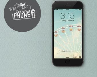 "digital Wallpaper iphone 6 ""Merry Go Round"" photo ferris wheel fair sky summer"