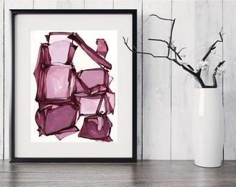 Abstract Painting Print, Pink Mauve Burgundy Wine Abstract Art, Original Abstract Painting, Contemporary Fine Art GICLEE print