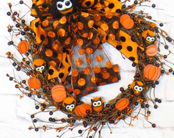 Halloween Wreath,  Halloween Decor, Orange and Black Wreath, Pumpkin Wreath, Owls and Pumpkins, Fall Wreath