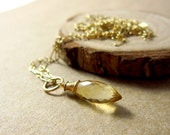 Sale - Lg - November Birthstone Jewelry - Yellow Citrine Pendant - 14k Gold Pendant - Natural Citrine Jewelry - Genuine Citrine Charm - Just