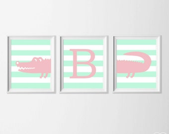 Personalized Alligator Nursery Art, Safari Alligator Nursery Wall Art, Mint Pink Alligator Set of 3, Safari Kids Alligator, Zoo Nursery Art
