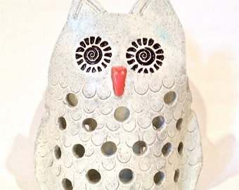 Owl Tea Light Luminary Indoor or Outdoor Tea Light Decoration Garden Art