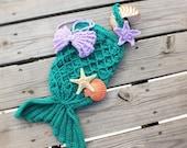 Mermaid Set - Mermaid Tail Photography Prop - Baby Mermaid Tail, Top and Headband Set - Newborn Photography  -by JoJosBootique