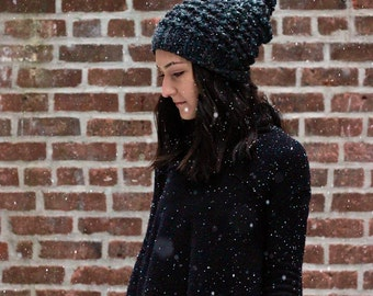 Slouchy Chunky Knit Beanie Hat // The Astoria Knitted Beanie Hat - CHARCOAL