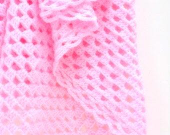 Pink Baby Blanket, Crocheted Baby Girl Blanket, Travel/Car Seat/Stroller Size Blanket