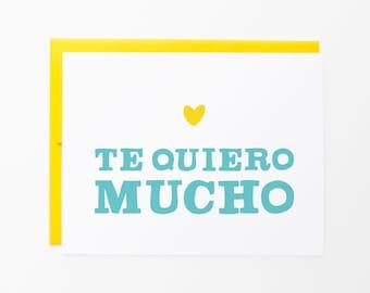 Te Quiero Mucho | I Love You | Spanish greeting card | Love & friendship