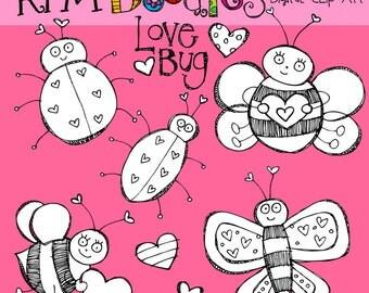 KPM Valentine Bugs Stamps digital clip art