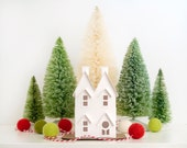Putz House Ornament DIY Kit Twin Gable Glitter House Christmas Decoration Paper Craft Kit