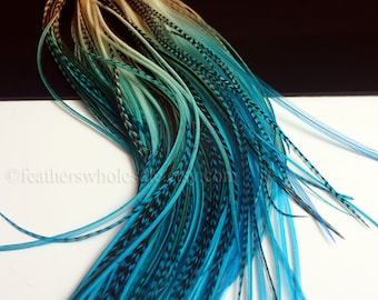 Boho Hair Accessories 10 Feather Hair Extensions Turquoise Blue Hair Feathers Diy Kit & Beads Real Feathers Blue Rooster Feather Extensions