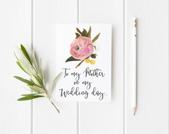 To My Mother On My Wedding Day Greeting Card - Hand Painted Flowers - Wedding - Mother of Bride Card - Floral Card
