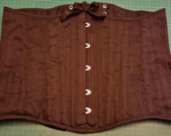 Black silk longline underbust corset - Free shipping