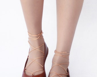Ballet flats Lace up - Tobbaco brown handmade leather ballerinas - CUSTOM FIT