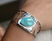 Turquoise Cuff Sterling Silver Art Jewelry Unique Modern Design