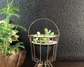vintage gold plated / brass planter with handle